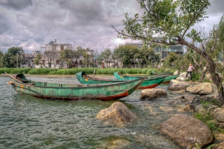 hdr: On Erhai Lake in Dali City, Yunnan Province, China were these green boats