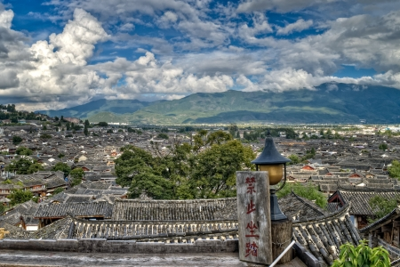 Tops of roofs in Lijian City, Yunnan Province, China  版權商用圖片