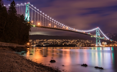 Vancouvers Lions Gate Bridge At Night Stock Photo