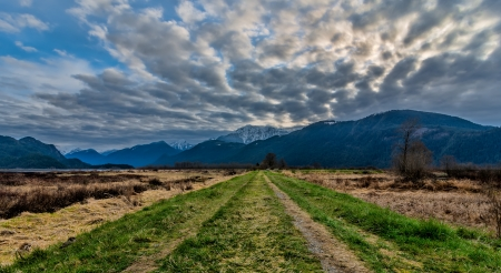 Dramatic clouds with grass road leading to mountains