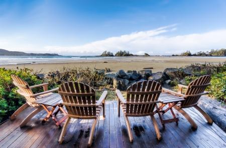 Beach side deck chairs photo