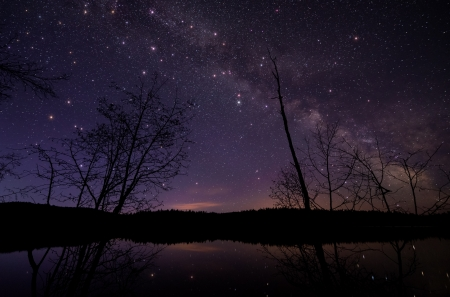 Large twinkling stars lake side with milky way