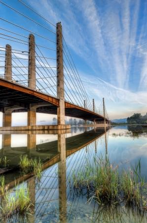 Clear skies over the Pitt River Bridge