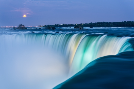 niagara river: Dusk at Niagara Falls