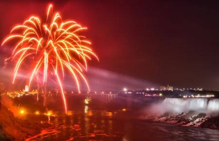 The fireworks at Niagara falls  Stock Photo