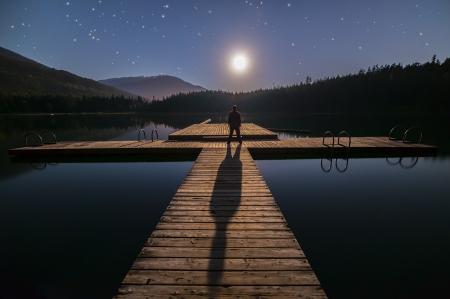 lost lake: Lost lake in Whistler man looking at moon