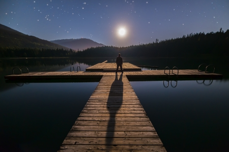 Lost lake in Whistler man looking at moon