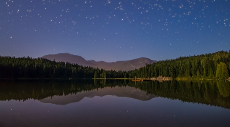 Stars above a lake with mountain reflection photo