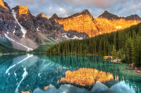 Moraine Lake is a well known place in Canada. Stock Photo