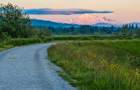 mount baker: Peak of Mount Baker in distance draped with pink light Stock Photo