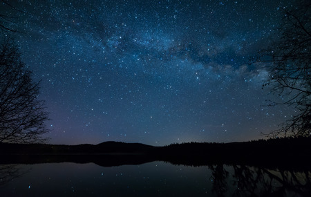 Milky Way beside a lake with trees