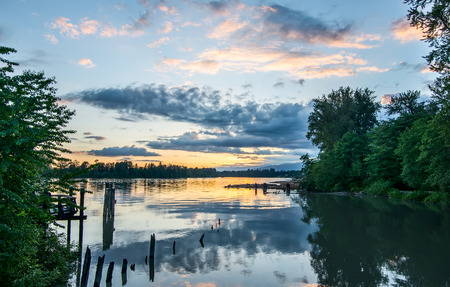 british columbia: Sunset over the Fraser River.