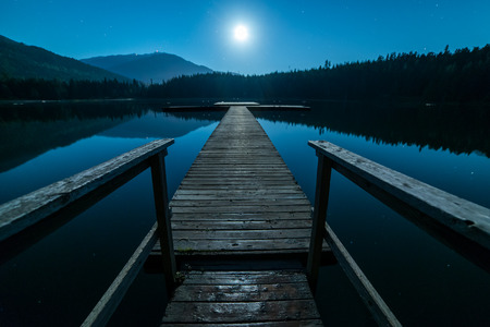 lost lake: Blue sky at night with dock in Whistler