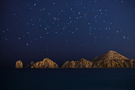 Starry night shot of rock formations in Cabo San Lucus