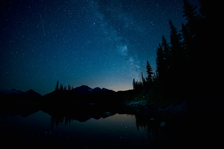 Forest and Lake below the milky way Stock Photo