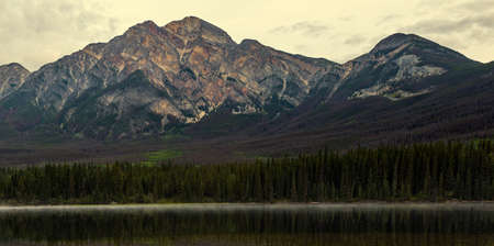 Pyramid Mountain from across pyramid lake in Jasper National Park