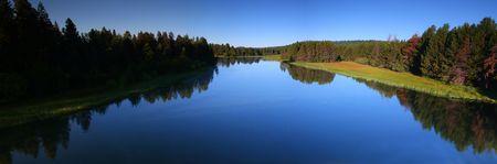 pine creek: Sunriver Panoramic Stock Photo