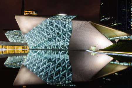 clearly: The night of guangzhou opera house, reflection is clearly visible