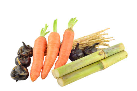 saccharum: some Saccharum sinense,carrot,Water-chestnuts and cogongrass rhizome  Stock Photo