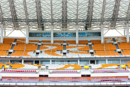 grandstand: empty grandstand seat in the Haixinsha Asian Games Park  Editorial