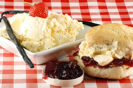 cream tea: traditional cream ccone, with cream and strawberry jam