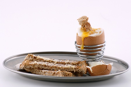 soft boiled egg with toast soldiers photo