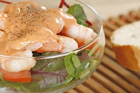 clse up: clse up fresh king prawn cocktail with salad and dressing