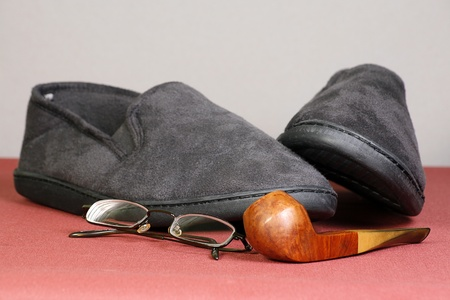 slipper: pipe spectacles and slippers age and retirement concept