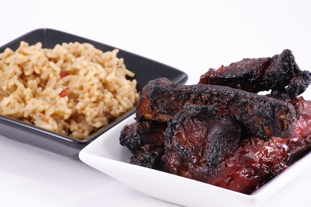 barbecued pork ribs and rice photo