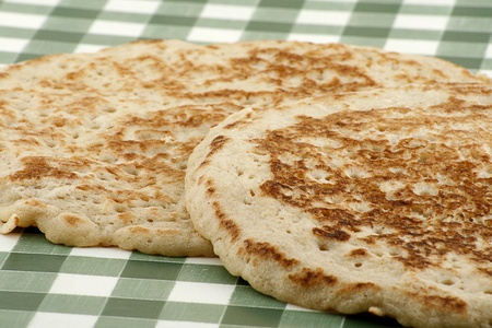 derbyshire: traditional derbyshire oatcakes on a gingham cloth