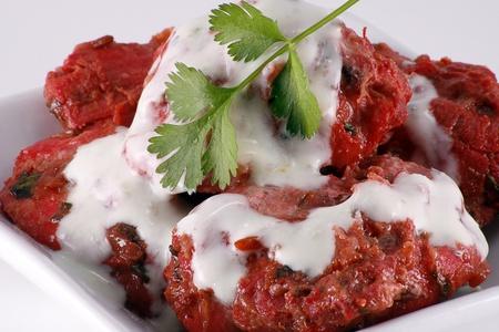 garnishing: indian starter on white dish