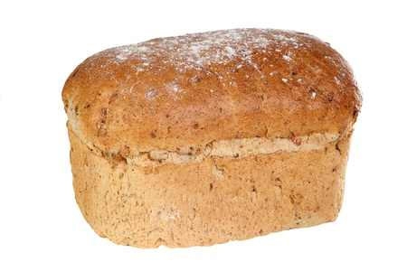 granary: home baked loaf of seeded granary bread isolated on a white background Stock Photo