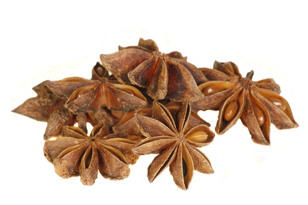 whole spices star anise isolated on a white background photo