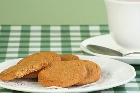 sweet sugar snap: stack of ginger snap biscuits on a white plate