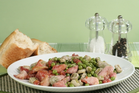 broad: bacon and vegetables with salt and pepper and crusty bread