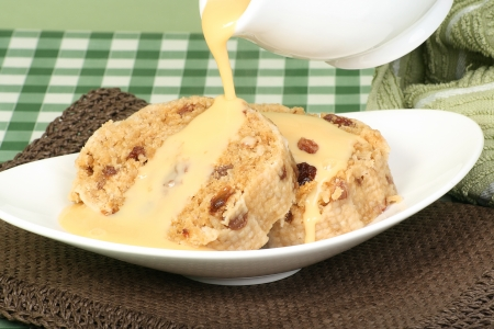 spotted: home made suet pudding with custard pouring on top