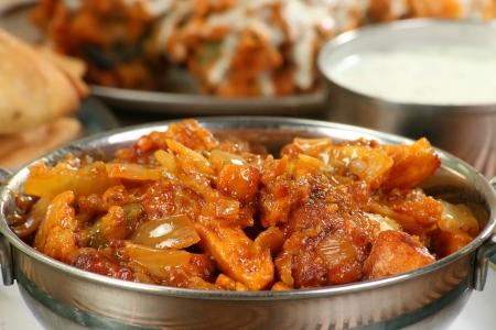 스테인레스 스틸 그릇에 맛있는 뜨거운 칠리 파니 카레