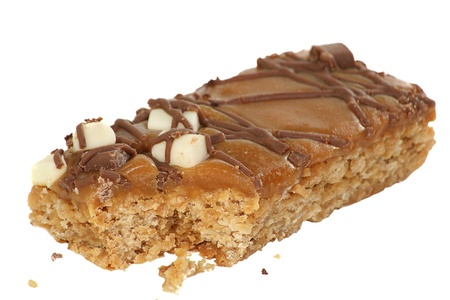 candy bar: Flapjack slice covered with toffee chocolate and marshmallows