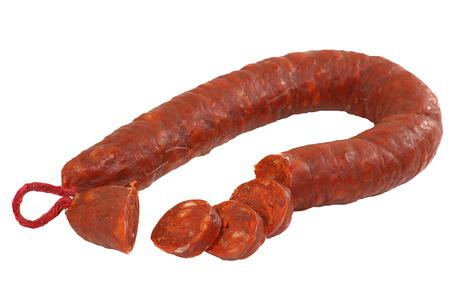 Deli: chorizo ring sliced isolated on a white background Stock Photo