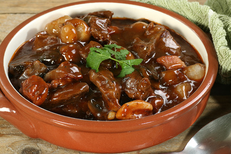 red braised:  french food beef cooked in red wine sauce                          Stock Photo