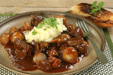 red braised: beef cooked in red wine sauce with garlic and coriander mash