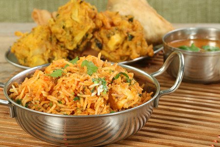 biryani: indian food dish of panir biryani                              Stock Photo