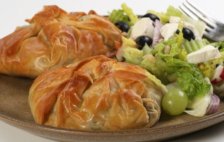 filo pastry:    parcels of filo pastry filled with fennel and mushroom with a mixed salad
