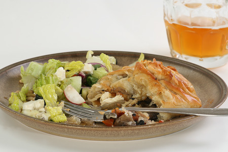 filo: vegetarian filo parcels filled with fennel mushroom and sun dried tomatoes