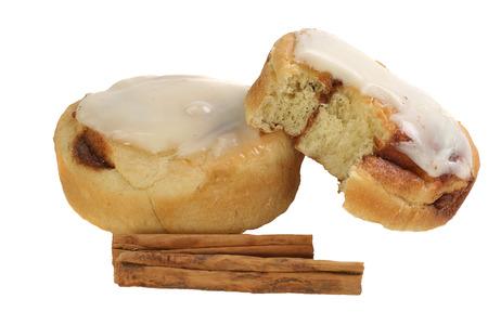 iced cinnamon bun isolated on a white background                                photo