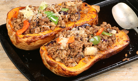 roast butternut squash, with peppers onion  and vegetarian mince Stock Photo