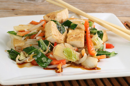 vegetarian tofu and mixed vegetable stir fry