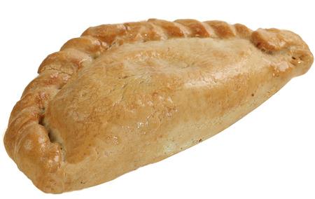 fresh baked cornish pasty isolated on a white background Stock Photo