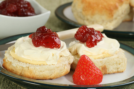cream tea: two cream scones with strawberry jam