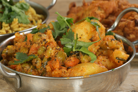 veggies: indian food spicy mixed vegetable curry